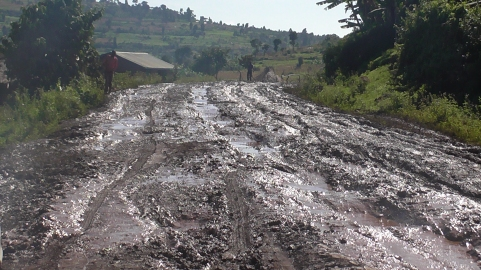 The road between Cheminy and Kapchorwa, the nearest town 21km away.
