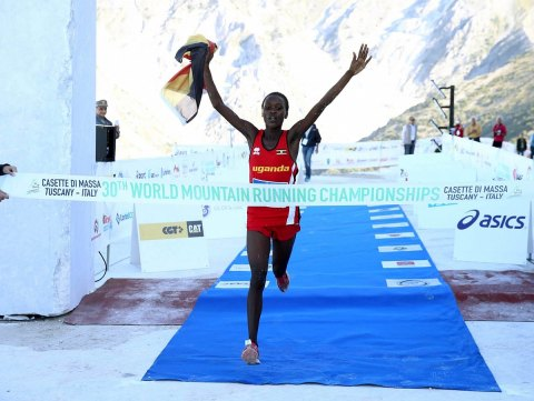 Former KAF athlete Stella Chesang winning the recent World Mountain Running Junior race in Italy