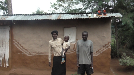Vincent and his wife at his place in Solian before travelling to Kampala